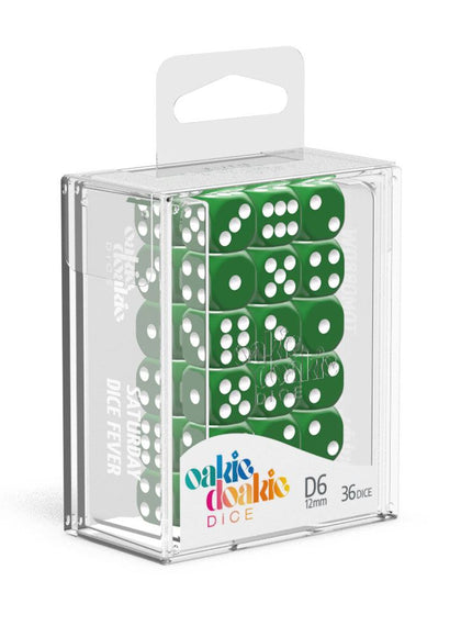 Oakie Doakie Dice D6 Dice 12 mm Solid - Green (36)