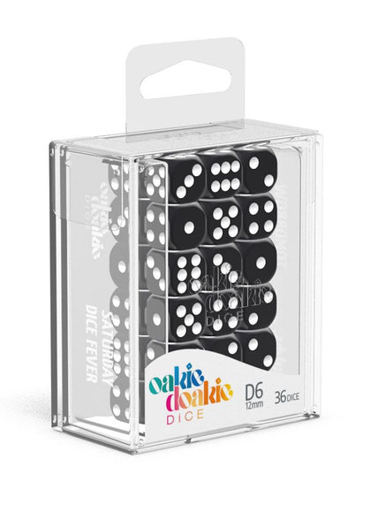 Oakie Doakie Dice D6 Dice 12 mm Solid - Black (36)
