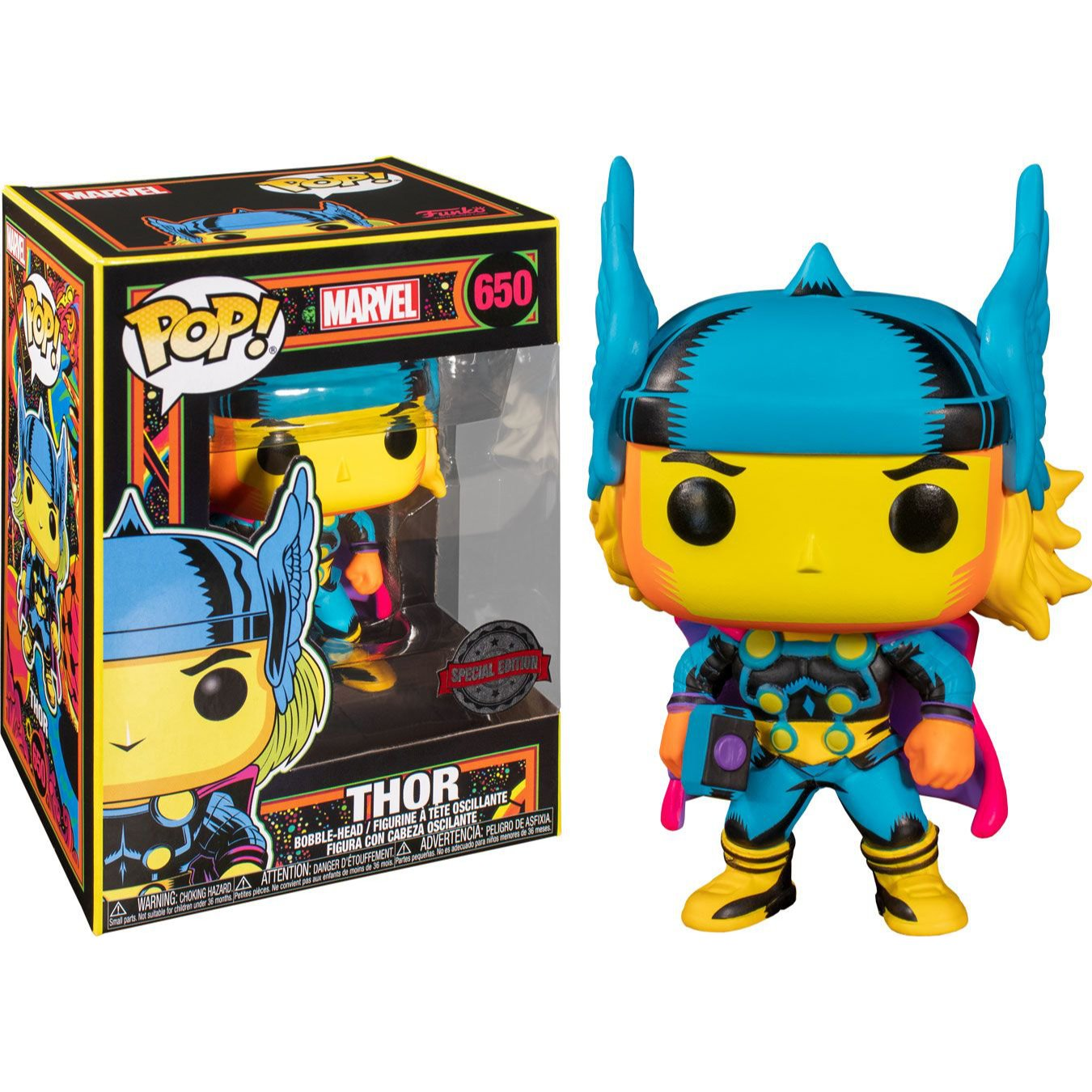 Marvel POP! Marvel Black Light Vinyl Figure Thor 9 cm