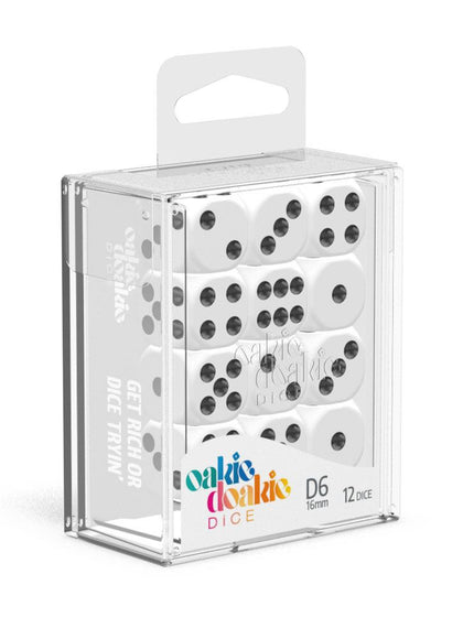 Oakie Doakie Dice D6 Dice 16 mm Solid - White (12)