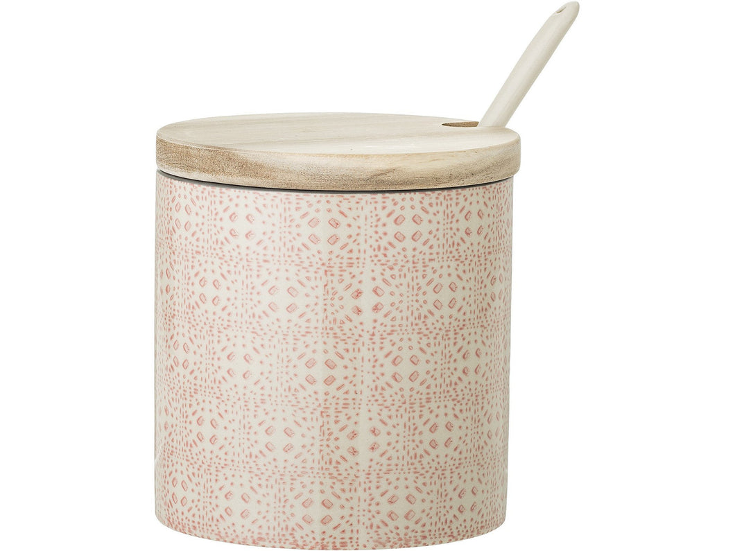 Cécile Jar w/Lid & Spoon, Rose, Stoneware - Meats And Eats