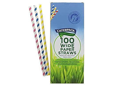 Caterpack 100 Wide Striped Straws - Meats And Eats