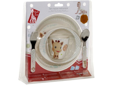 Sophie la girafe Baby Mealtime Set - Bowl, Plate, Beaker, Fork & Spoon - Meats And Eats