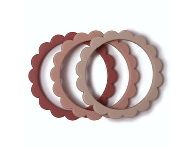 Mushie Teether Flower Bracelet 3-Pack Blush/Rose/Shifting Sand - Meats And Eats