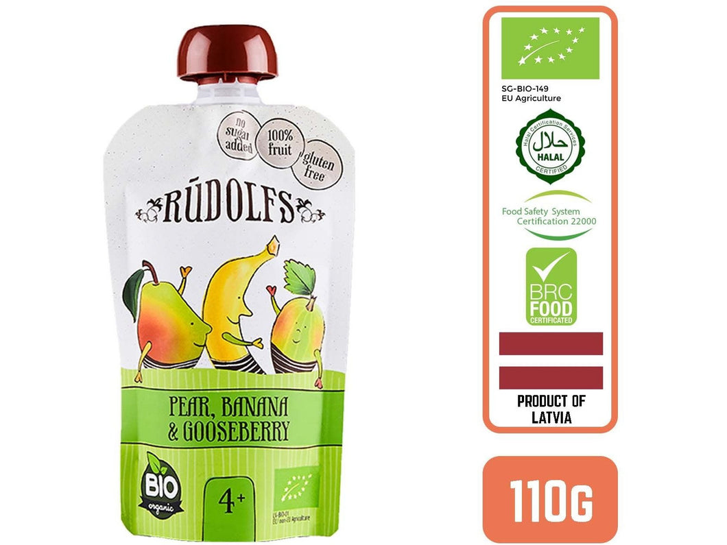 Rudolfs Organic Pear, Banana & Gooseberry 4+ Months - Meats And Eats