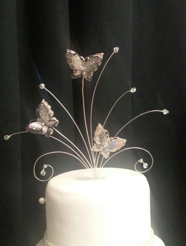 3d silver Metal Butterfly  cake topper set