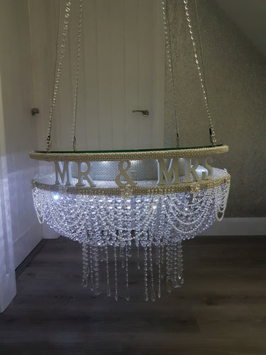 Suspended Swing cake ,Personalised, Mr & Mrs, Pearl and crystal drape stand mirror top + LED