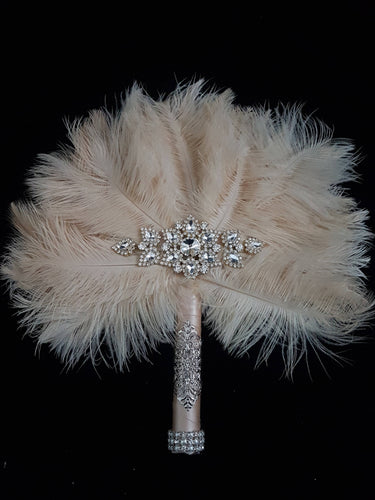 Bridal Feather Fan bouquet, Great Gatsby wedding style -ANY COLOUR