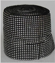 Load image into Gallery viewer, SILVER/BLACK Rhinestone effect ribbon, Diamond Mesh, Diamante Bling, Crystal trim 1 METER cake trim.