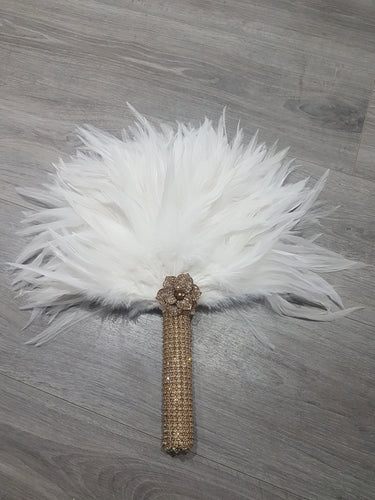 Brides Feather Fan bouquet GOLD AND WHITE, Great Gatsby wedding style -ready to ship