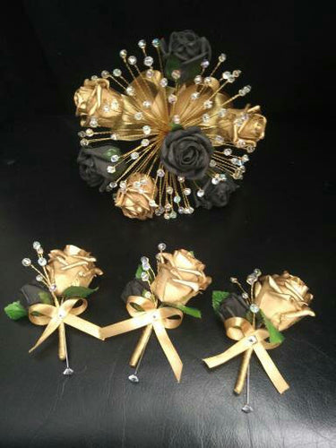 Black gold bouquet , Gatsby style,Rose & crystalwire bouquet, artificial Wedding bridal flowers