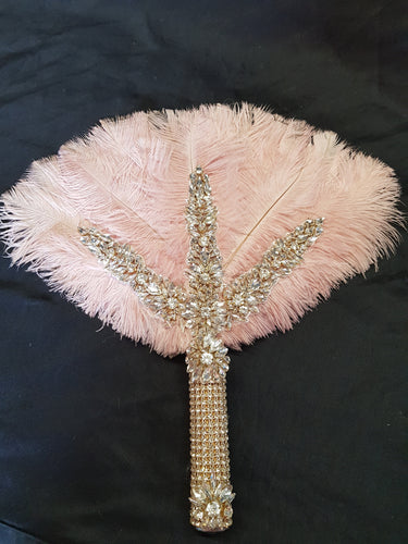 Blush pink Feather Fan bridal hand fan bouquet, READY TO SHIP