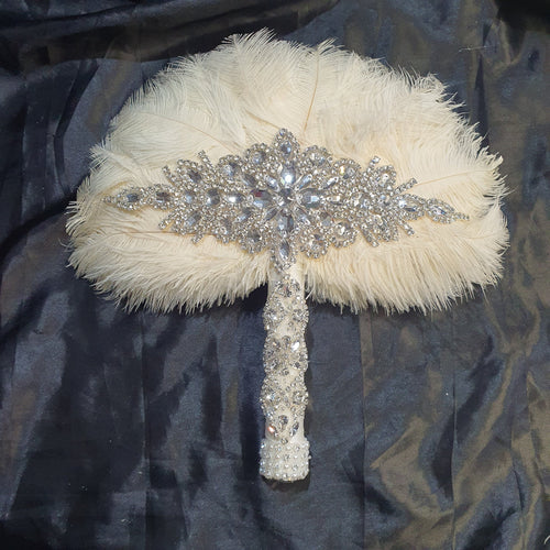 Blush Feather Fan bouquet, Great Gatsby wedding style 1920's - any colour as custom made
