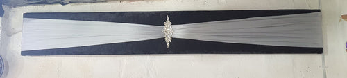 Box Pelmet, Black Crushed velvet, silver sash  with rhinestone detail- made to measure