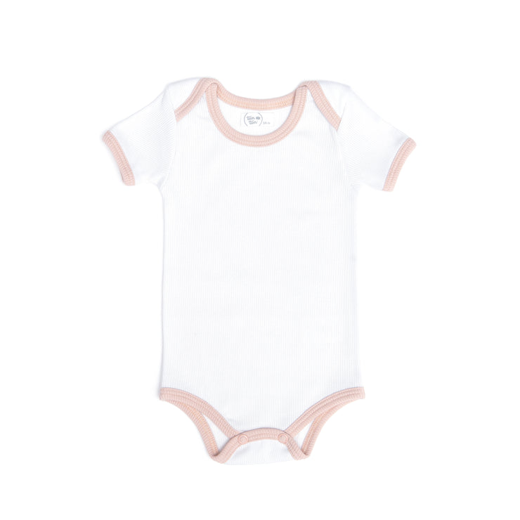 WHITE & SHELL PINK RIBBED BODYSUIT