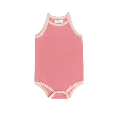DARK ROSE & SHELL PINK RIBBED TANK BODYSUIT