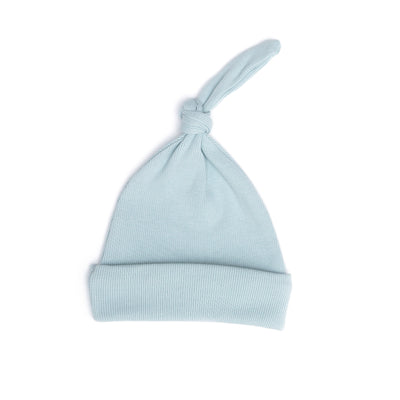 LIGHT BLUE RIBBED KNOT HAT