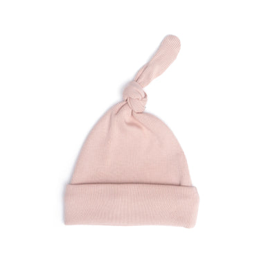 SHELL PINK RIBBED KNOT HAT