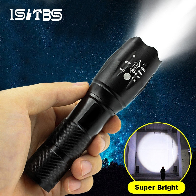 LED Flashlight Ultra Bright Torch T6/L2- Waterproof & Rechargeable 18650 Battery
