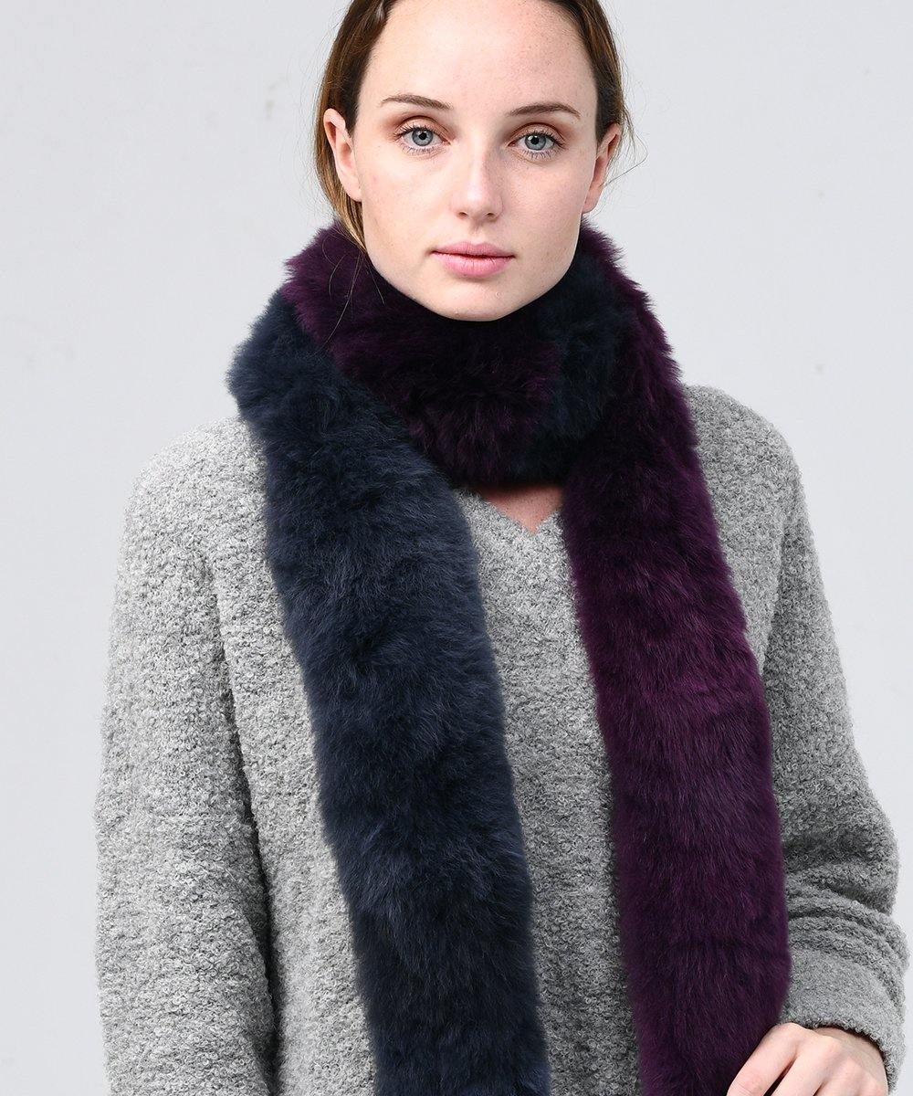 Alpaca Fur scarf 2 Colors Purple + Dark grey - Be ALPACA
