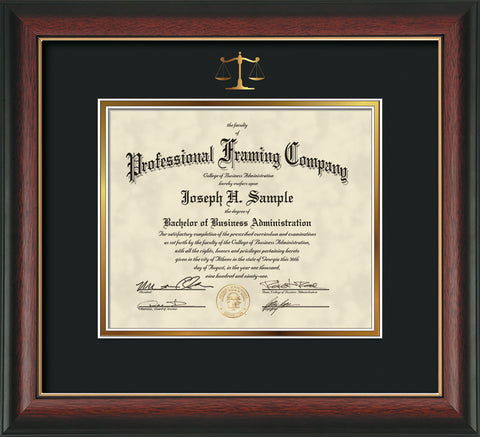 Gold Scales of Justice embossing for Law degree onto document, diploma or certificate frame