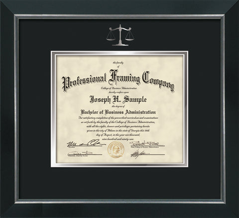 Silver Scales of Justice embossing for Law degree onto document, diploma or certificate frame