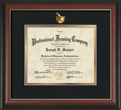 Pharmacy embossing onto certificate and document frame