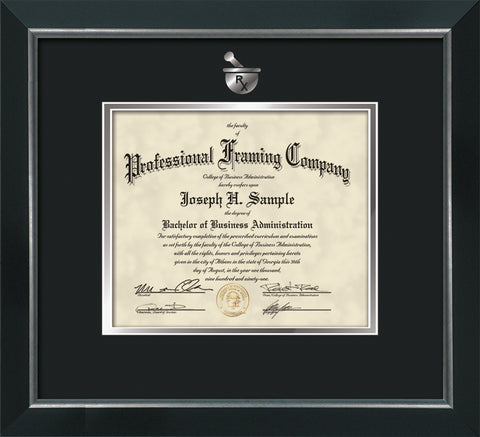 Silver embossing onto certificate or document frame