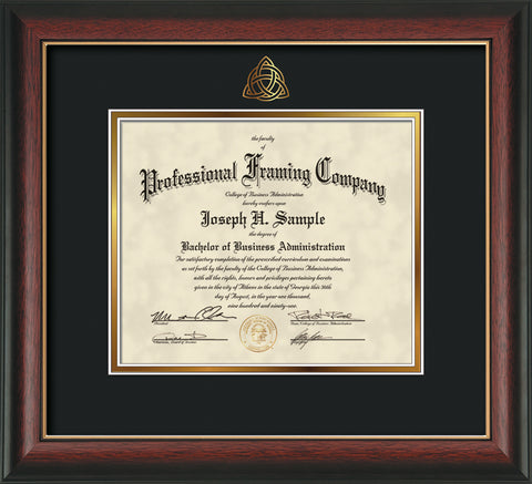 Gold Trinity Knot embossing for Theology degree onto document, diploma or certificate frame