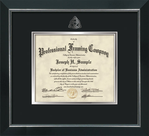 Silver Trinity Knot embossing for Theology degree onto document, diploma or certificate frame