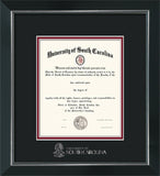 USC - University of South Carolina diploma frame with silver USC wordmark embossing