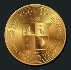 24 K Gold Plated Virginia Tech medallion