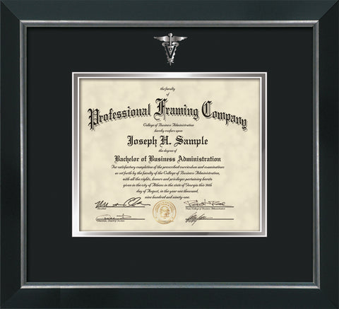Gold Veterinary embossing for Vet degree onto document, diploma or certificate frame