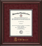 University of South Carolina diploma frame with USC medallion and mahogany braid moulding