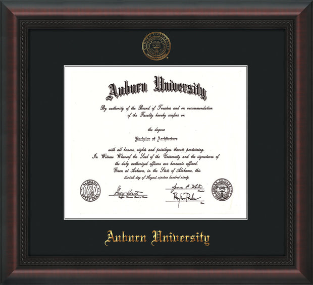 Image of Auburn University Diploma Frame - Mahogany Braid - w/Embossed Seal & Name - Single Black Mat