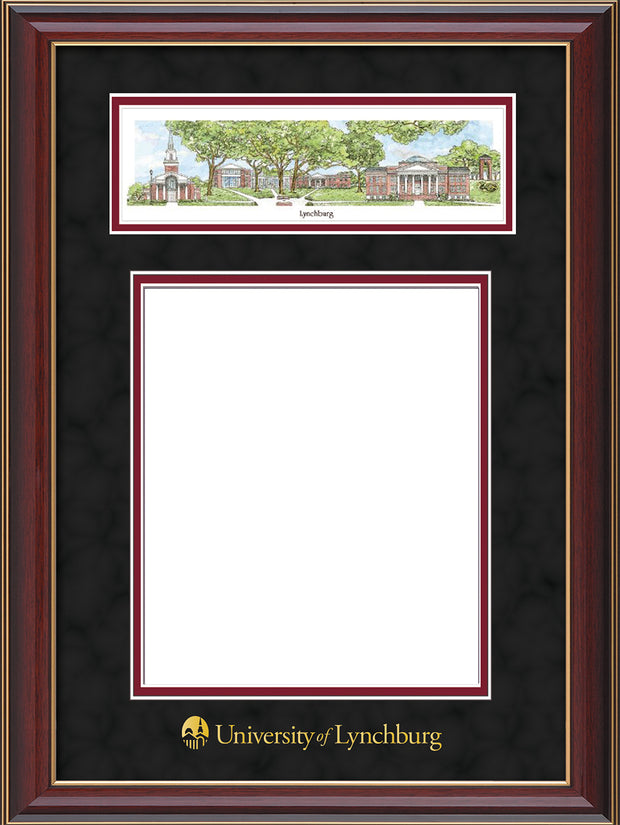 Image of University of Lynchburg Diploma Frame - Cherry Lacquer - w/Embossed School Name Only - Campus Collage - Black Suede on Crimson mat
