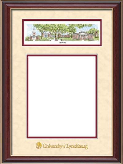 Image of University of Lynchburg Diploma Frame - Cherry Lacquer - w/Embossed School Name Only - Campus Collage - Cream Suede on Crimson mat