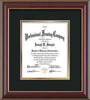 Vertical view of the Custom Cherry Lacquer Art and Document Frame with Black on Gold Mat