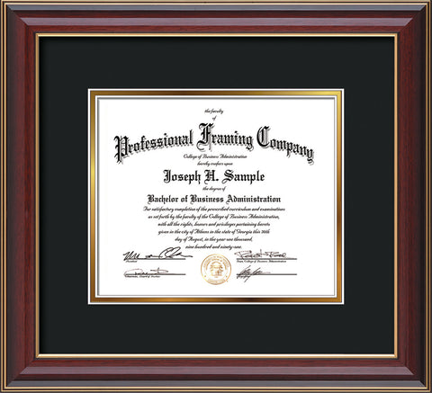 Horizontal View of the Custom Cherry Lacquer Art and Document Frame with Black on Gold Mat