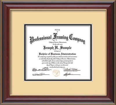 Horizontal view of Custom Cherry Lacquer Art and Document Frame with Cream on Black Mat