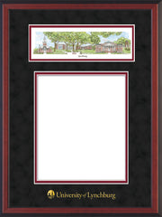 Image of University of Lynchburg Diploma Frame - Cherry Reverse - w/Embossed School Name Only - Campus Collage - Black Suede on Crimson mat
