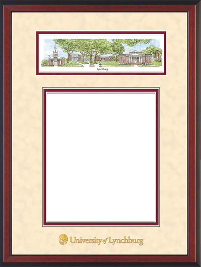 Image of University of Lynchburg Diploma Frame - Cherry Reverse - w/Embossed School Name Only - Campus Collage - Cream Suede on Crimson mat