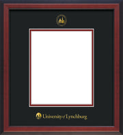 Image of University of Lynchburg Diploma Frame - Cherry Reverse - w/Embossed UL Seal & Name - Black on Crimson mat