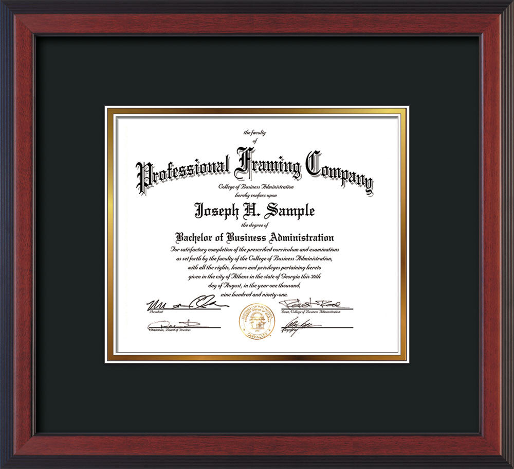 front of custom cherry reverse document frame with black on gold mat horizontal