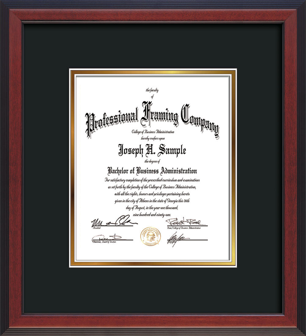 view of custom cherry reverse document frame with black on gold mat vertical - Document Frames