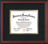 Front of Custom Cherry Reverse Document Frame with Black on Gold Mat - Horizontal