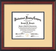 Custom Cherry Reverse Art and Document Frame with Cream on Black Mat