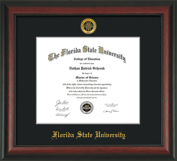 Florida State University Diploma Frame - Rosewood - w/Embossed FSU Seal & Name - Single Black mat
