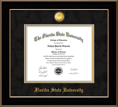 Image of Florida State University Diploma Frame - Black Lacquer - w/24k Gold-Plated Medallion FSU Name Embossing - Black Suede on Gold mats