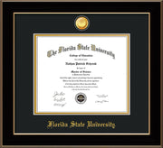 Image of Florida State University Diploma Frame - Black Lacquer - w/24k Gold-Plated Medallion FSU Name Embossing - Black on Gold mats